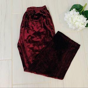 Citron Maroon/Red Silk blend velvet pants Size M